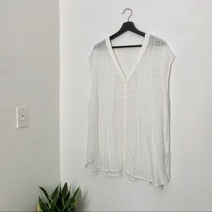 FOREVER 21 PLUS Grid Sheer Tunic White Button Up